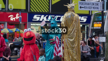 Statue Of Liberty And Elmo Street Performers In Times Square New York City, USA