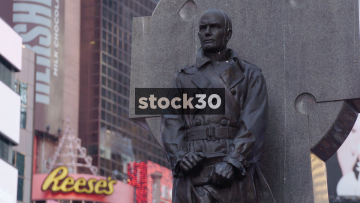 Father Duffy Statue In Times Square New york City, Close Up And Wide, USA