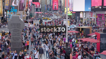 Timelapse Of Tourists In Times Square, New York City, USA