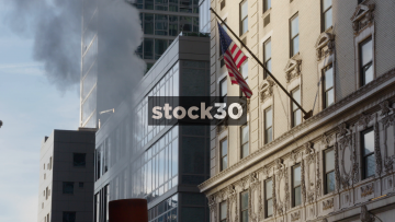 Steaming Subway Vent And USA Flag In New York City