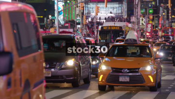 Night Shot Of 7th Avenue In New York City, USA