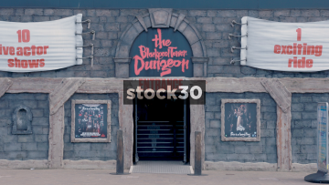 Blackpool Tower Dungeon Mid Shot And Close Up on Sign, UK