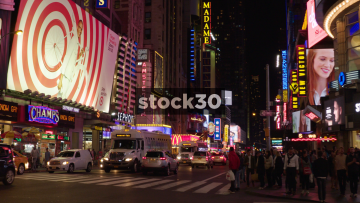 Night Shot Of West 42nd Street In New York City, USA