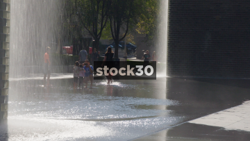 Slow Motion Shot Of People By The Crown Fountain In Chicago, USA