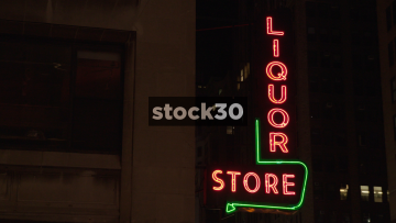 Neon Liquor Store Sign In New York City, USA