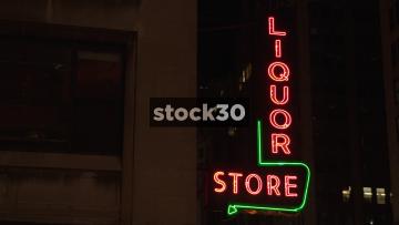 Neon Liquor Store Sign In New York City, USA
