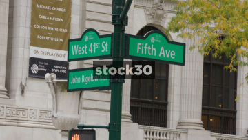 5th Avenue And West 41st Street Sign Followed By Pedestrians Crossing, New York, USA