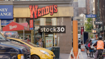 Wendy's Fast Food On 5th Avenue In New York, USA