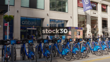 Citibank In New York City With Citibikes Outside, USA