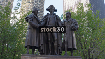 The Statue Of George Washington In Chicago, USA