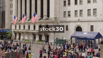 New York Stock Exchange, Wide Shot Followed By USA Flags, USA