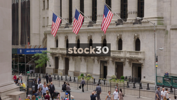 New York Stock Exchange Wide Shot Followed By Zoom Out, USA