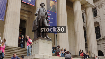 George Washington Statue Outside Federal Hall Building On Wall Street, New York, USA
