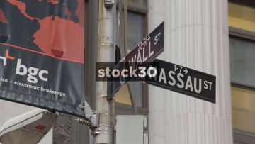 Wall Street And Nassau Street Signs In New York, USA