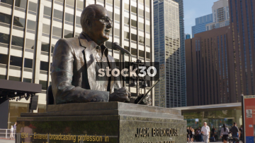 The Jack Brickhouse Statue In Chicago, USA