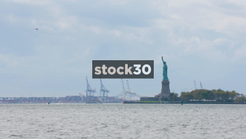 Wide Shot Of The Statue of Libery On Liberty Island  In New York, USA