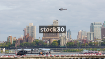 Tourist Helicopter Landing In New York, USA