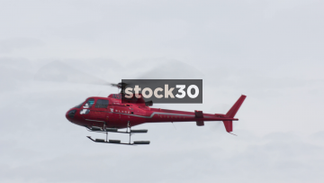 Tourist Helicopter Hovering And Landing In New York, USA