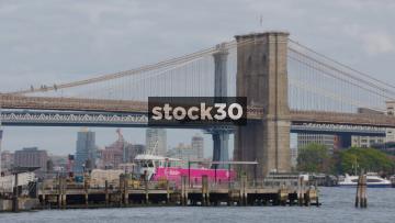 Brooklyn Bridge In New York, Gradual Zoom Out, USA