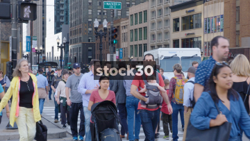 Slow Motion Shot Of People Crossing At East Wacker Drive In Chicago, USA