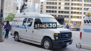 WGN 9 News Outside Broadcast Van In Chicago, USA