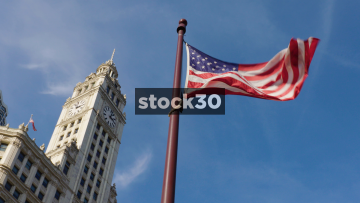 Slow Motion Shot Of The USA Flag Outside The Wrigley Building In Chicago, USA