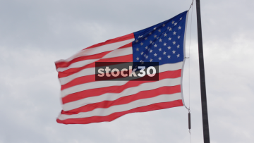 US Flag Flying In Chicago, USA
