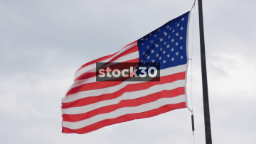 Slow Motion Shot Of US Flag In Chicago, USA