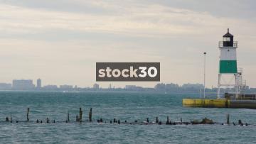 Lake Michigan With Chicago Background, USA