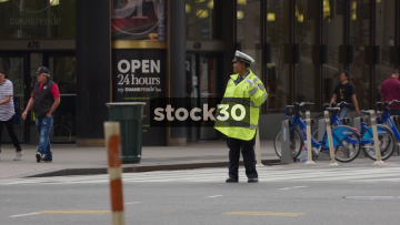 NYPD Traffic Cops Directing Traffic In New York, USA