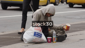 Homeless Man On The Street In New York, USA