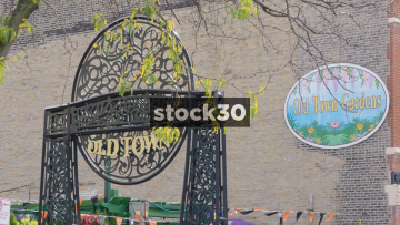 Chicago Old Town Gate And Gardens Signs, USA