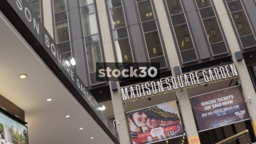 Low Angle Shot Of Madison Square Garden Entrance In New York, USA