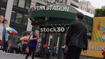 Penn Station Entrance In New York, USA