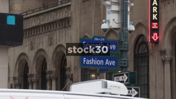 Seventh Avenue And Fashion Avenue Street Signs In New York, USA