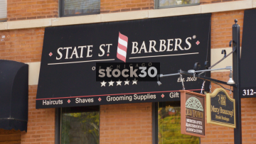 State Street Barbers In Old Town Chicago, USA