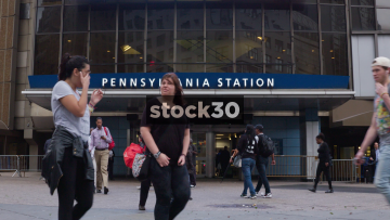 Penn Station In New York, Two Shots, USA