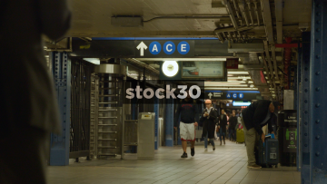 New York Subway Station Interior With Pedestrians, USA