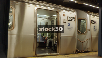 New York Subway Train Doors Close And Train Departs, USA