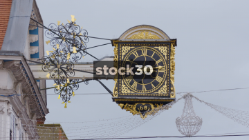 Clock On High Street In Guildford Town Centre, UK