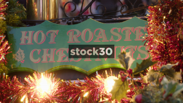 Hot Roasted Chestnuts And Mulled Wine Stall, UK
