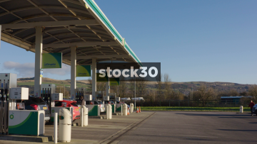 Petrol Station Forecourt In Blackburn, UK