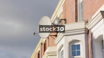 Satellite Dishes On Terraced Houses In Blackburn, UK