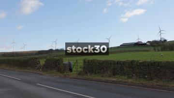 Wind Farm In Blackburn, Wide Shot, UK