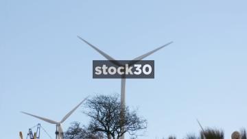 Wind Turbines In Blackburn, Slow Zoom Out, UK