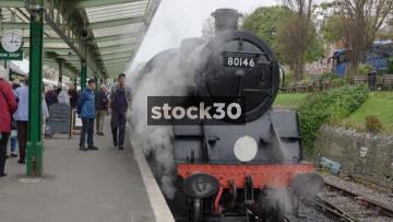 Steam Engine At Swanage Railway Station, UK