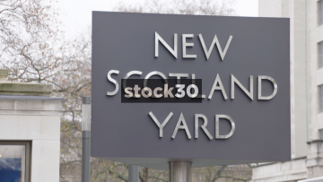 New Scotland Yard Sign Close Up, UK
