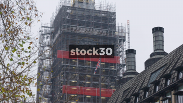 Big Ben Surrounded By Scaffolding During Renovations, UK