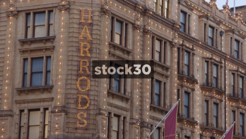 Harrods Department Store, Close Up On Sign Then Coat Of Arms, UK