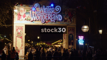 Winter Wonderland Amusement Park Entrance In London, UK